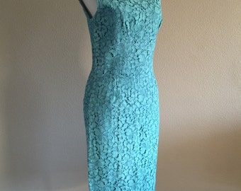 50s Turquoise Lace Summer evening Wiggle dress