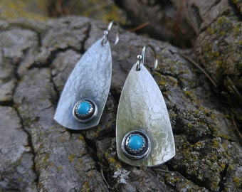 Sleeping Beauty Turquoise and Sterling Silver Earrings. Patterned Oxidized Silver Metalworked Dangle Earrings with Sky Blue Turquoise.