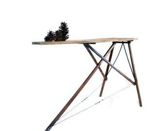 Antique Wood Ironing Board - Rid Jid - J R Clark - 1920s - Repurposed Furniture - Sofa Table - Console - Farmhouse Decor - Primitive