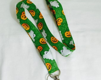 Pumpkins and Ghosts on Green Fabric Lanyard - unique lanyard - Halloween Print lanyard