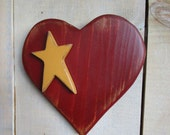 Primitve Heart Wall Hanging with Star