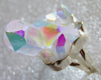 Ineffable 13gram Opal Aura Quartz From Arkansas Handmade 925 Solid Sterling Silver Ring Size 10 With Free Shipping And 10% Off At Checkout