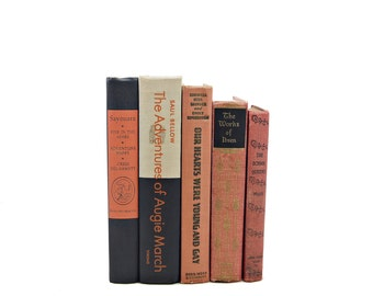 Coral Books, Orange Decorative Books, Old Book Set, Vintage Book Decor, Shabby Chic Books, Black Book Collection, Book Bundle Book Stack