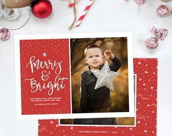 Christmas Card Template for Photographers, Christmas Card Template for Photoshop, Holiday Card Template, Christmas Card Digital HC288