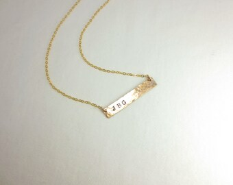 Bar Necklace, Horizontal Initial Pendant, Initial Bar Necklace, Horizontal Initial Necklace, Hand Stamped, Sterling Silver, Gold Fill