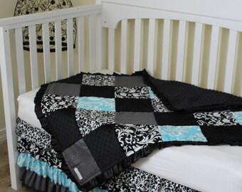 Custom Black White Grey Aqua Damask Crib Set