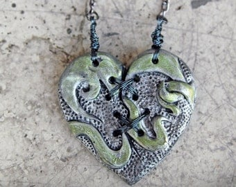 Ex Marks The Heart, Resin, Statement Necklace, Mended Heart, Distressed, SteamPunk Heart, Gears, Heart Necklace, Valentine Heart Necklace
