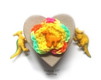 Dinosaur Flower Brooch Crochet Bright