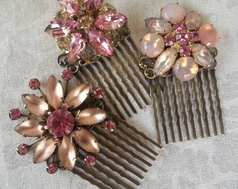 SPARKLERS VINTAGE Pink Hair Combs Set of Three Shabby Rustic Chic Bride Bridesmaids Gift Ideas Hair Accessories Feminine Wedding