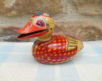 Vintage Metal Toy Duck Made in Japan Colorful Tin Litho Mid Century Friction Toy Bird Animal