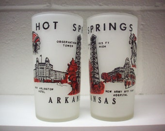 2 HOT SPRINGS ARKANSAS Souvenir Drinking Glasses Anchor Hocking Red Black