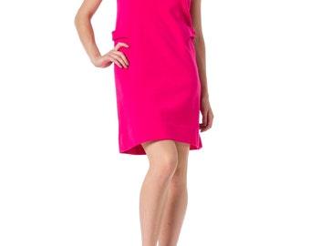 1960s MOD Bright Pink Sleeveless Wool Dress