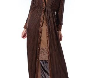 1970s Travilla Fully Beaded Coat Dress SIZE: S/M, 6-8