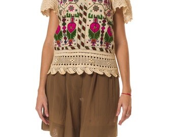 Vintage 1920s Top Made From Hand Embroidered Turkish Towels  Size: XS/S/M