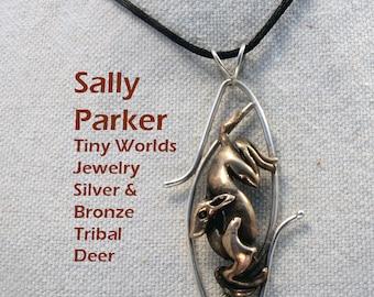 Men's and Women's Tribal  Deer Pendant in Bronze and Silver