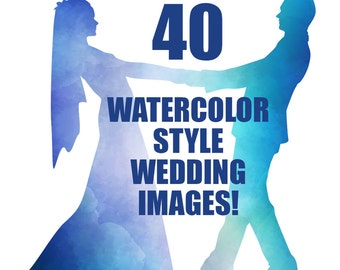 WEDDING SILHOUETTES, watercolor, clipart, wedding, clip art, bride, groom, digital, wedding clipart, bridal, blue, green, purple