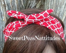 Wire Headband Wired Dolly Bow Royal Red and White Print  Rockabilly Rabbit Ears Scarf - Bandana