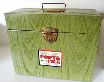 Vintage Green Faux Wood Metal Locking Porta File Box