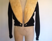 50s black cropped sweater with luxurious fur cream collar and sparkly buttons