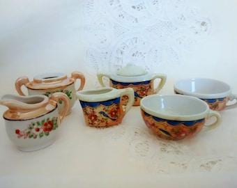 Lusterware Miniature Teaset, Dolls teaset, Vintage Dollhouse Dishes