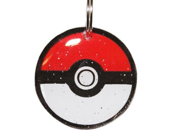 Classic Red Pokemon Pokeball Pet ID Tag - 3 Sizes in Metal or Resin - Cute Personalized Tag For Cats or Dogs -  Back w/ Pets Info
