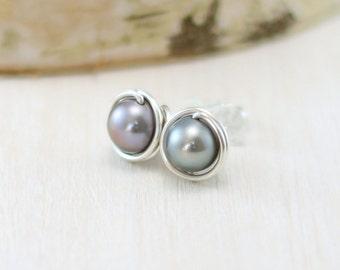 Gray Pearl Earrings, Sterling Silver Freshwater Pearl Stud Earrings June Birthstone Wire Wrapped Pearl Post Earrings