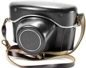 Vintage 1960's Praktica Nova Black Camera Case with Chrome Trim & Red Interior