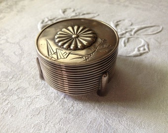 Japan Jungin Pure Silver Round Covered Box Meiji Period Hallmarked Engraved Origami