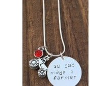 So God Made a Farmer Necklace / Hand Stamped Necklace