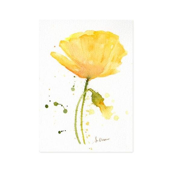 Yellow Watercolor Poppy original painting Small flower