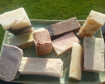 Soap bar scrap samples one pound, travel soap, soap sampler, hand soap, handmade,  shower soap,  sink soap