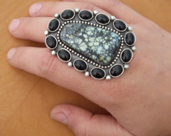 New Landers and black onyx ring size 8 1/4