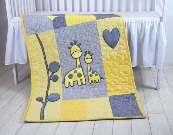 Baby Boy Blanket, Giraffe Jungle Quilt, Safari Nursery Bedding, Yellow Gray Baby Room Decoration