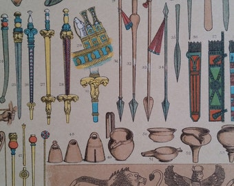 1890s Large Color Print Weapons, Utensils Of Babylonians & Assyrian Hottenroth, Wall Art Deco