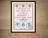 Firefly Captain Mal quote cross stitch sampler pattern - pretty floral bonnet