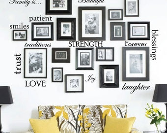 Set of 12 Family Quote Words Vinyl Wall Sticker Picture Frame Wall Home Wall Decal Sticker, Arrange Words Any Way You Like Custom #1332