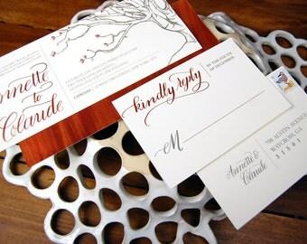 Copper Tree Invitation w/ Custom Calligraphy