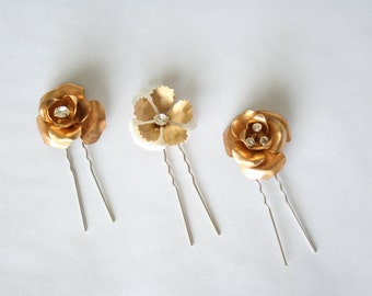 Flora - gold and enamel flower hair pins - SET of 3 - #1007