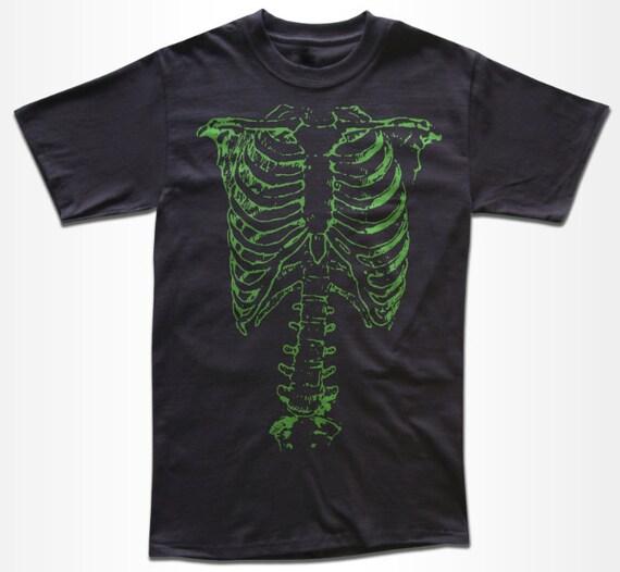 Green Rib Cage Skeleton T Shirt - Graphic Tees for Men, Women & Children