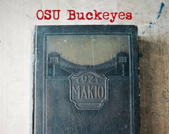 Ohio State University Yearbook, OSU Makio, Antique Vintage Yearbook, OSU Buckeyes, Big Ten, College Football, Student College Yearbook,