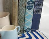 Vintage Shabby Blue and White cookbook set. Shabby blue kitchen.Joy of Cooking. New American Cookbook. Vintage kitchen