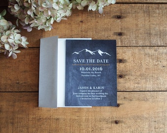 Save the Date, Mountain Save the Date, Mountain Wedding, Chalkboard Save the Date, Rustic Wedding