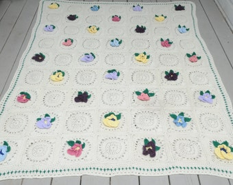 Crocheted Floral Afghan Cream Multi Colors
