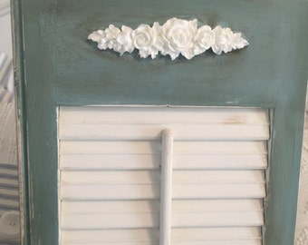 Shabby Chic - COTTAGE STYLE WOOD Shutters -You Get Two- The Pair are Hand-Painted - White Knobs- Duck Egg Blue