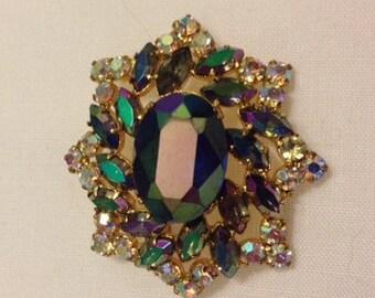 Sale - Vintage Aurora Borealis Rhinestone Brooch Pin