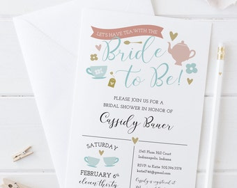 Tea with the Bride to Be! Bridal Shower Invitation