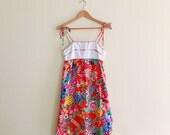 Vintage Hawaiian Floral & Bird Print Sundress // Rainbow Floral Tie Strap Dress // Novelty Print Dress // 70s