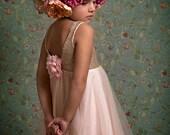 Flower Girl dress, Gold Sequin Flower Girl dress With Champagne Tulle, Gold Tulle Flower Girl Dress,Wedding Dress, Ball Gown, Gold glitter