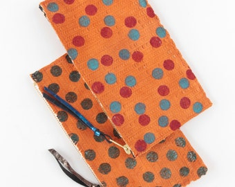 Simple handpainted natural leather pencil case / make up pouch - Orange suede-  Choose your color - Ready to Ship