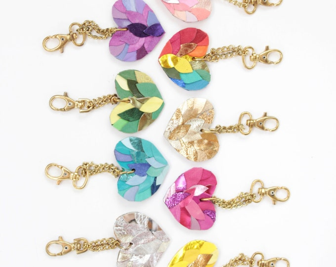 LOVE / Single big leather heart tassel key chains / key fobs / zipper charms - Choose your color - Ready to Ship